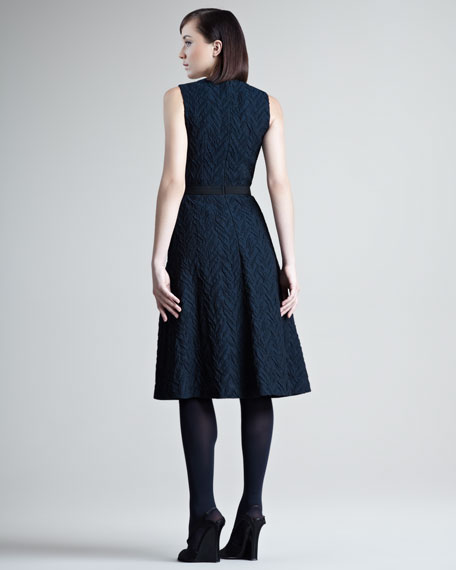 Chevron Cloque Cocktail Dress