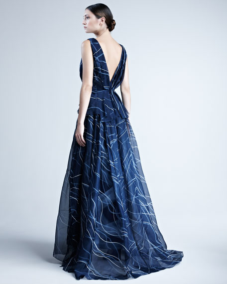 Hand-Painted Silk Organza Gown