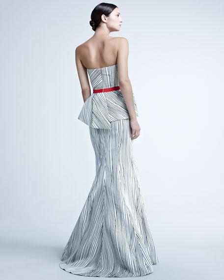 Woodgrain-Print Peplum Gown