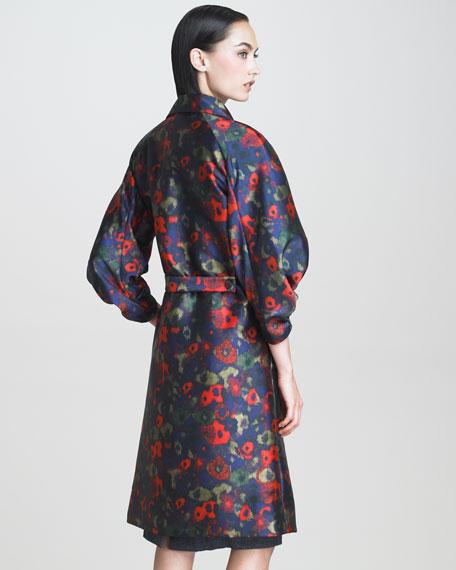 Hazed Floral-Print Coat
