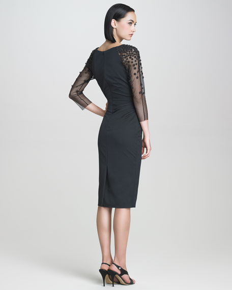 Embroidered Faille Dress