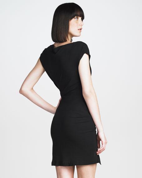 Ruched-Waist Silk Dress