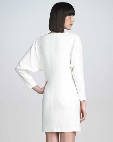 Classic Dolman-Sleeve Shift Dress, White