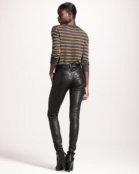 Four-Pocket Leather Leggings