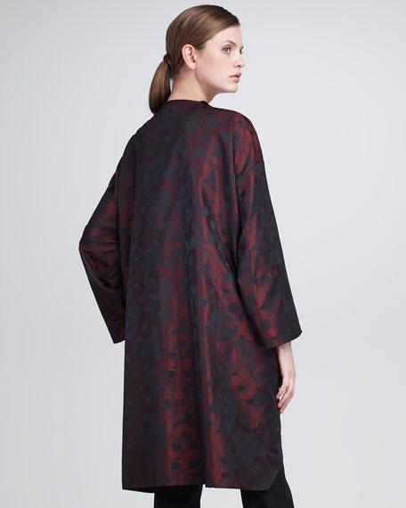 Satin Floral-Print Jacquard Jacket