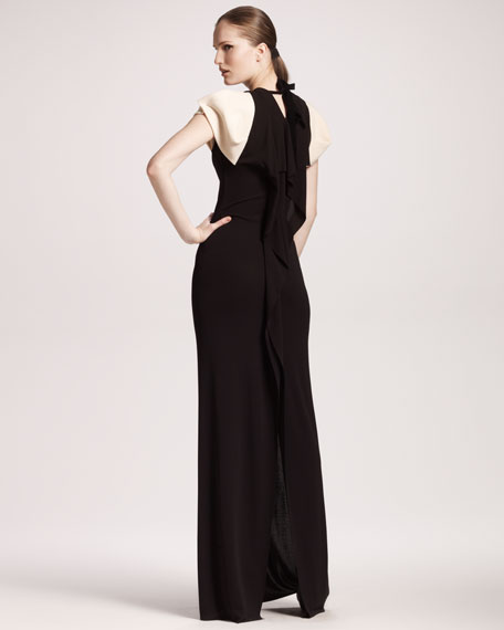 Contrast-Sleeve Gown