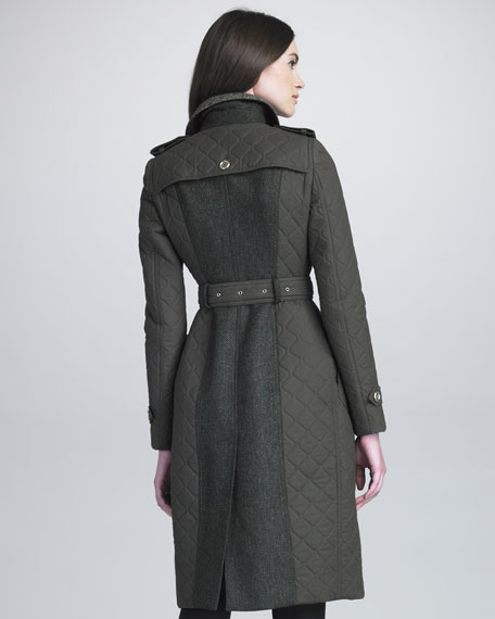 Tweed-Panel Quilted Trenchcoat
