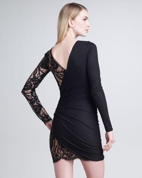 Long-Sleeve Lace-Panel Dress