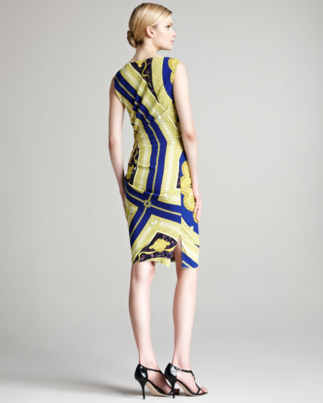 Printed Sleeveless Dress, Chartreuse