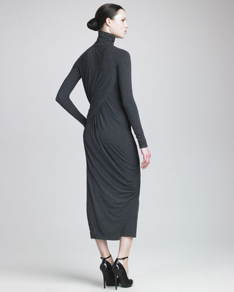 Melange Jersey Tea-Length Dress