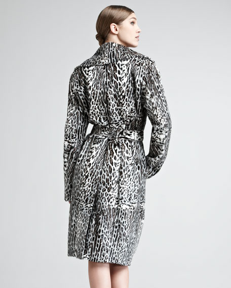 Ocelot-Print Leather Trench Coat