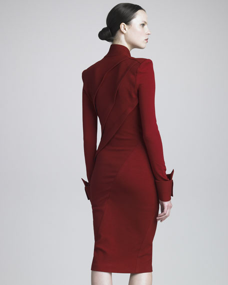 Draped Jersey Long-Sleeve Dress