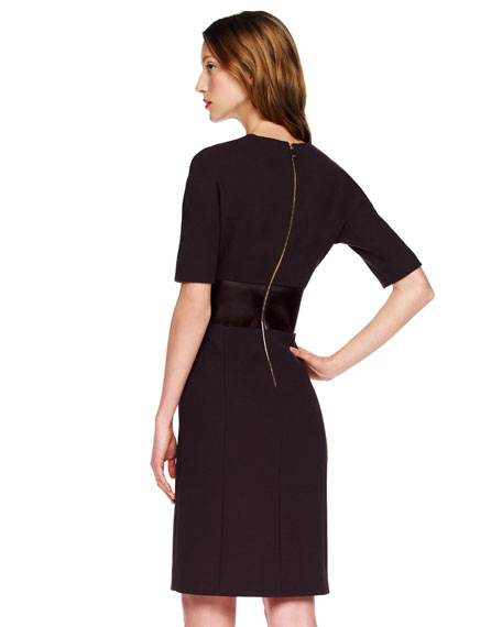 Leather-Waist Crepe Dress