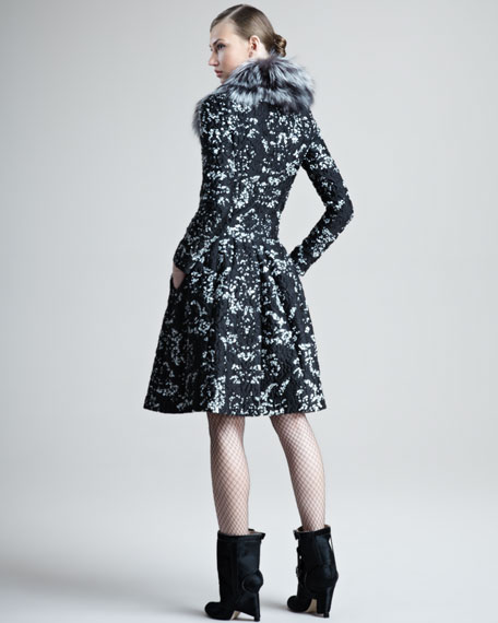 Fox-Collar Brocade Dress