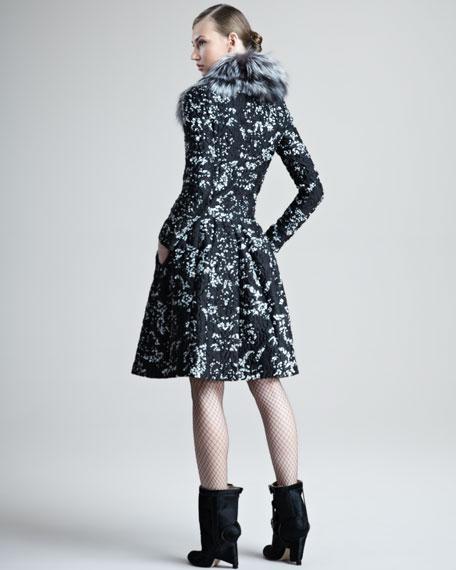 Fox-Collar Brocade Dress