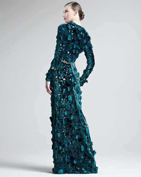 Embroidered Velvet Cutout Gown
