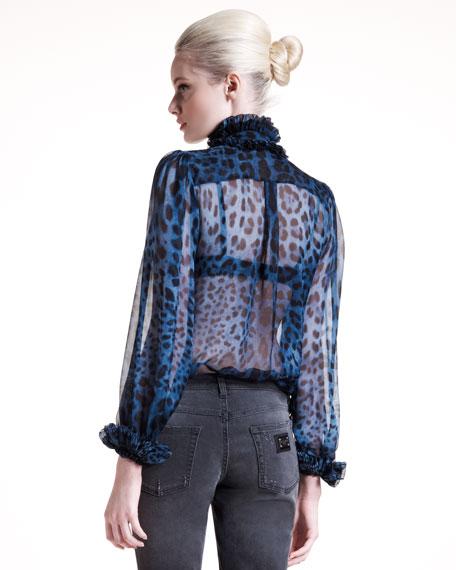 Leopard-Print Chiffon Blouse