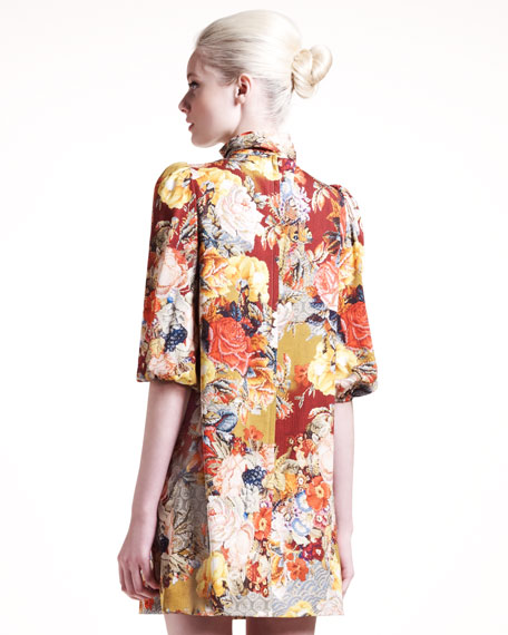 Floral-Print Charmeuse Dress