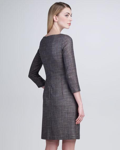 Scoop-Neck Glen Plaid Dress