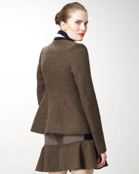 Varsity-Collar Tweed Jacket