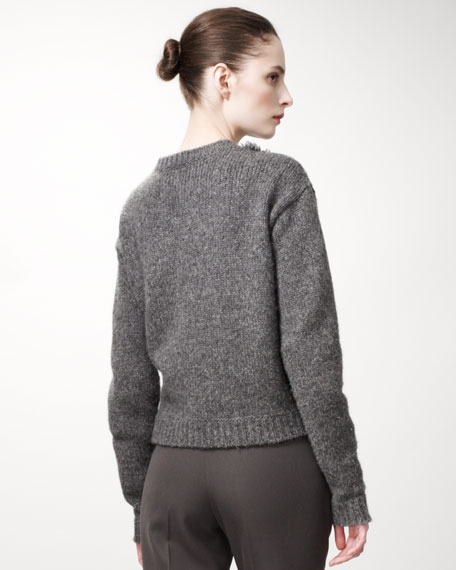 Textured-Front Sweater