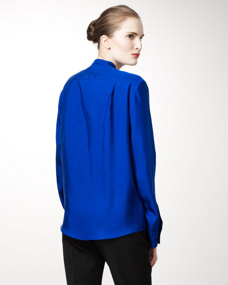 Draped-Front Silk Blouse