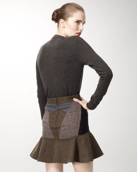 Mixed Tweed Circle Skirt
