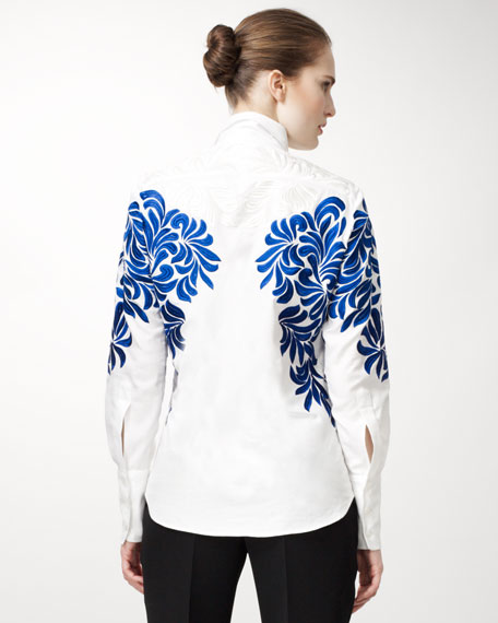 Damask-Embroidered Poplin Blouse