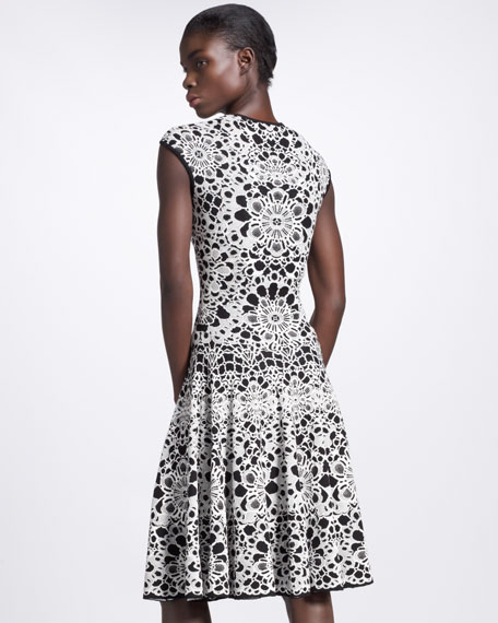 Dropped-Waist Floral Jacquard  Intarsia Dress