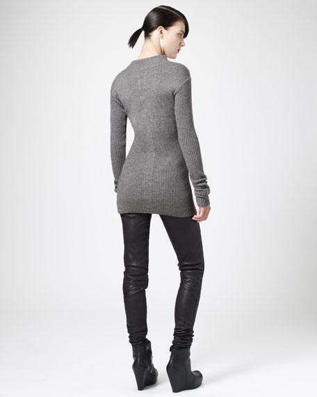 Ribbed Mock-Neck Sweater