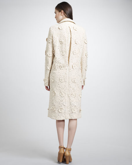 Lace Coat With Floral Pearl Embroidery