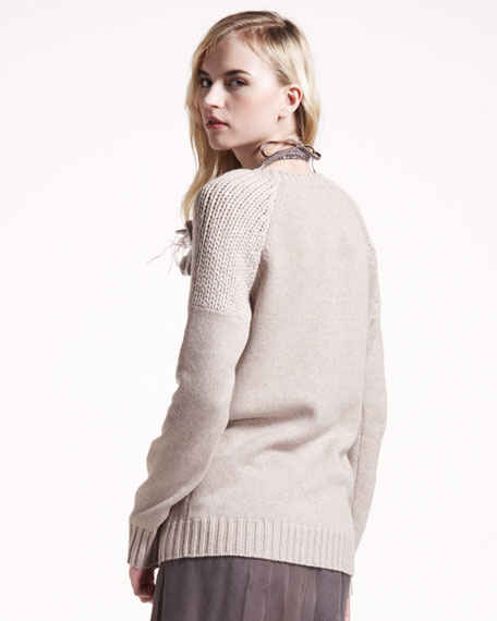 Paillette-Shoulder Cashmere Sweater