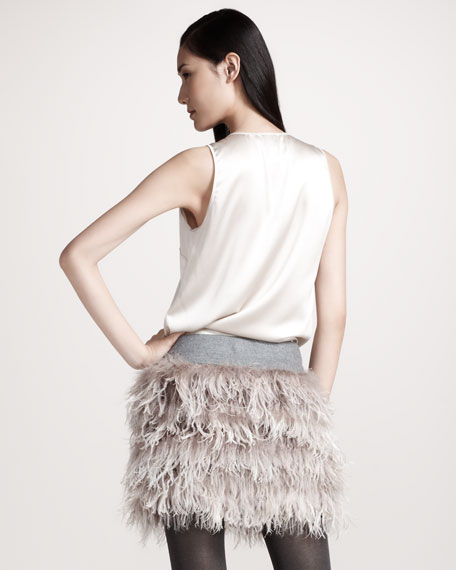 Feather-Trim Skirt