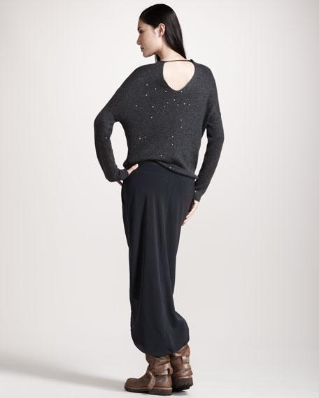 Paillette-Top Combo Dress, Volcano