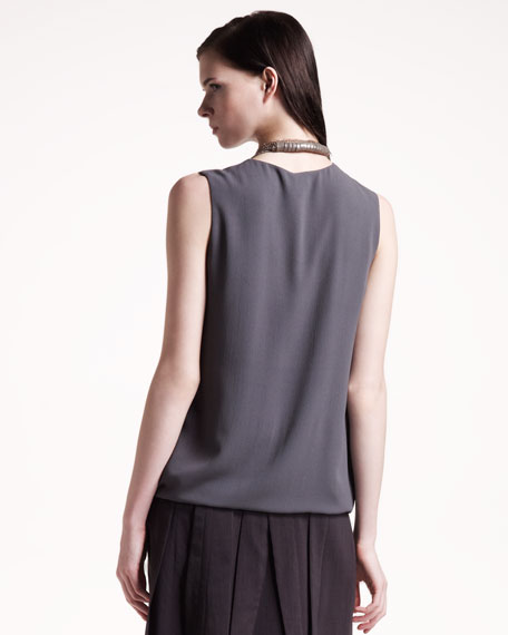 Sleeveless Silk Top