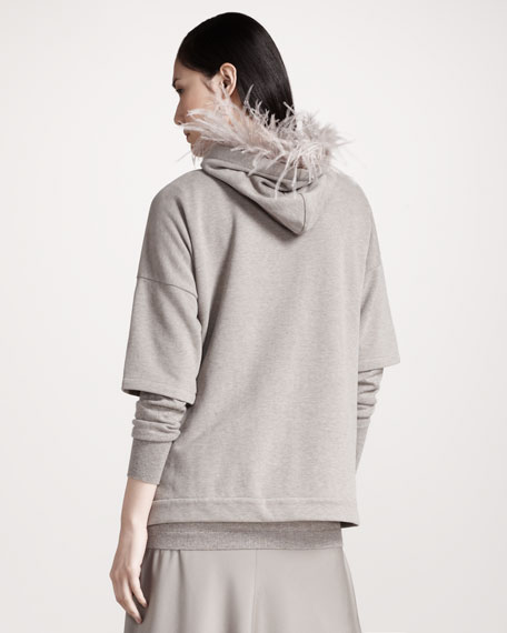Feather-Trim Terry Hoodie
