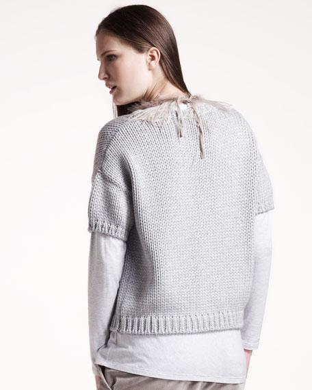 Short-Sleeve Metallic Sweater