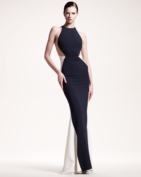 Belted Colorblock Gown
