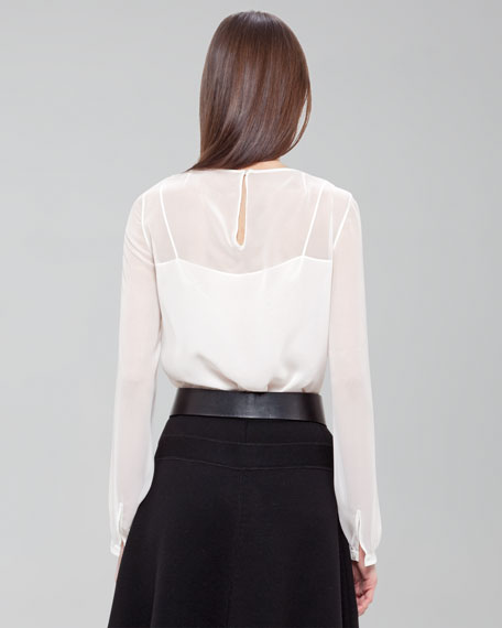 Plisse Pleated Chiffon Blouse