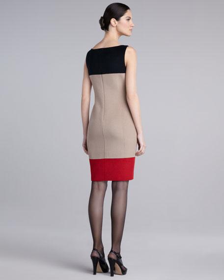 Colorblock Felt Dress