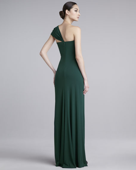 Asymmetric One-Shoulder Matte Jersey Gown