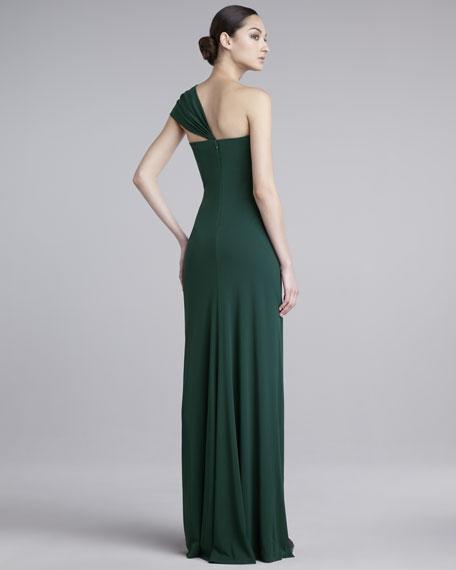Asymmetric One-Shoulder Matte Jersey Gown