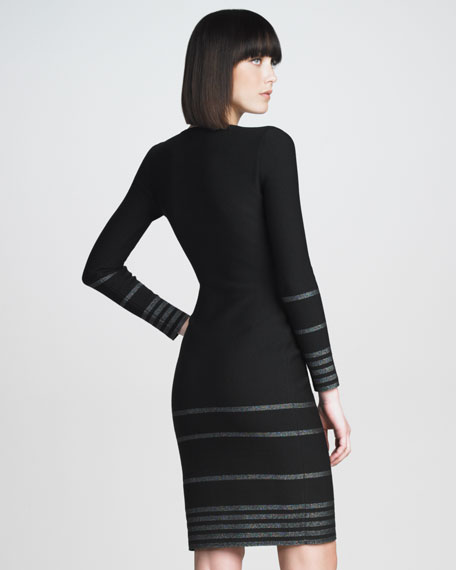 Metallic-Stripe Knit Dress