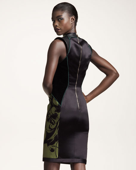 Leather-Detail Mixed-Media Sheath Dress