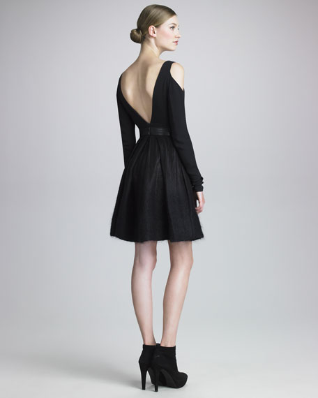 Long-Sleeve Plunging-Neckline Dress