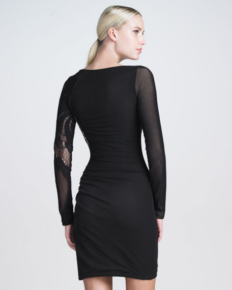 Lace-Mesh Paneled Dress