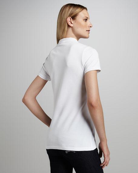 Basic Check-Placket Polo, White