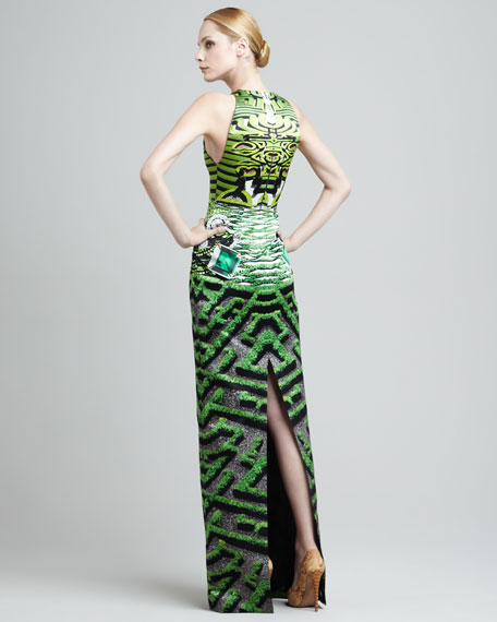 Garden-Printed Hightower Gown