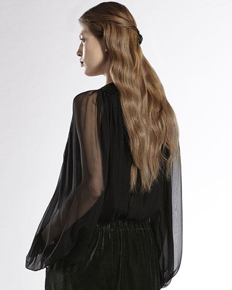Plastron-Embroidered Silk Chiffon Top