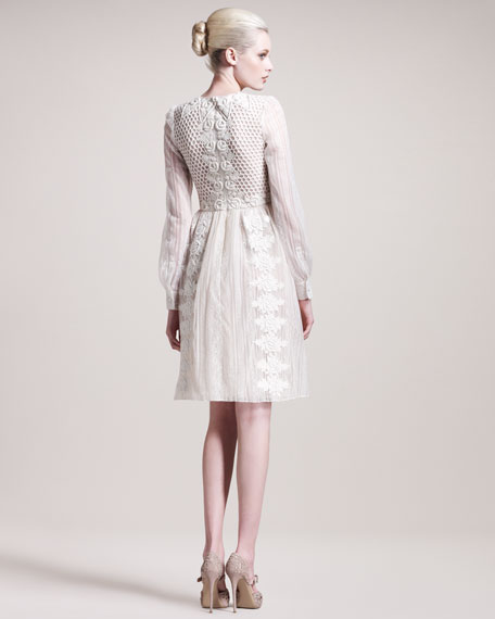Long-Sleeve Embroidered Dress